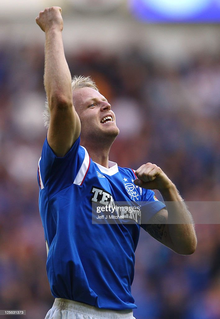 Steven Naismith of Rangers celebrates at the end of the Clydesdale Bank Premier League match between Rangers and Celtic at Ibrox Stadium on September 18, 2011 in Glasgow, Scotland.
