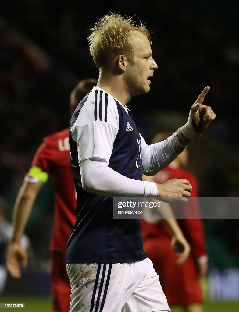 Steven Naismith of Scotland celebrates after he scores during the International Challenge Match between Scotland and Canada at Easter Road on March 22, 2017 in Edinburgh, Scotland.