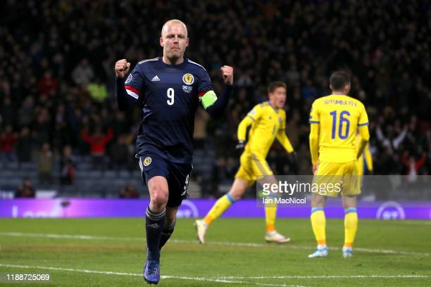 Steven Naismith of Scotland celebrates after scoring his team's second goal during the UEFA Euro 2020 qualifier between Scotland and Kazakhstan at...