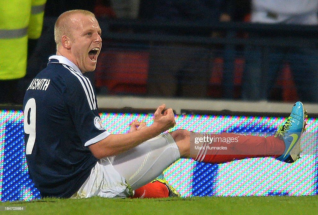 Steven Naismith of Scotland celebrates his goal during the FIFA 2014 World Cup Qualifying Group A match between Scotland and Croatia at Hampden Park on October 15, 2013.