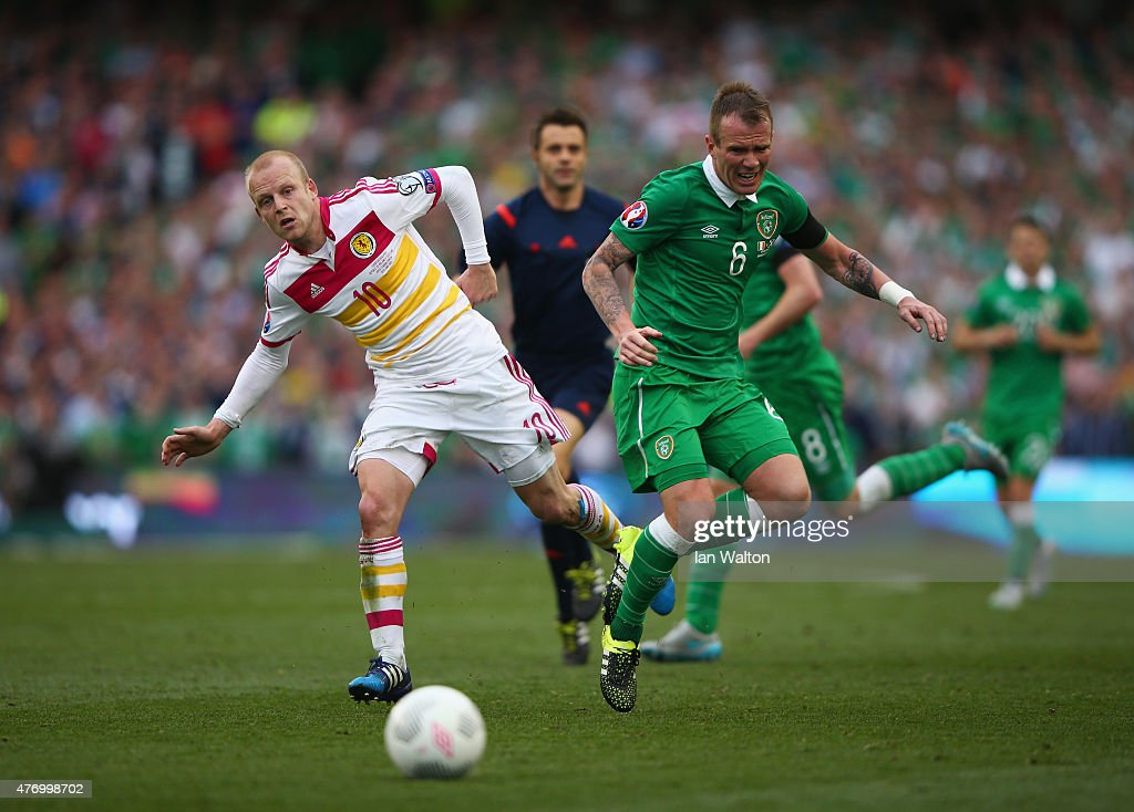 Steven Naismith of Scotland challenges for the ball with Glenn Whelan of Republic of Ireland during the UEFA EURO 2016 Qualifier Group D match between Republic of Ireland and Scotland at Aviva Stadium on June 13, 2015 in Dublin, Ireland.