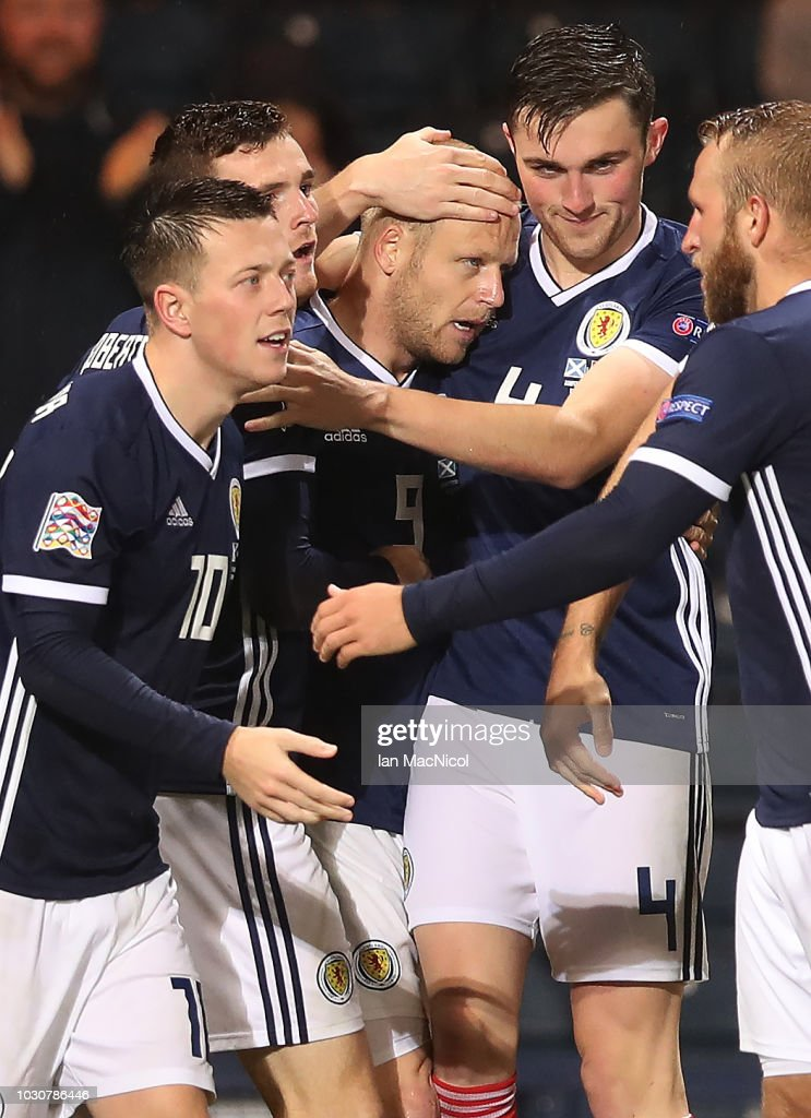 Steven Naismith of Scotland is congratulated after scoring the opening goal during the UEFA Nations League C group one match between Scotland and Albania at Hampden Park on September 10, 2018 in Glasgow, United Kingdom.
