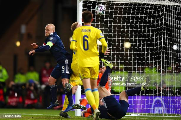 Steven Naismith of Scotland scores a goal to make it 21 during the UEFA Euro 2020 qualifier between Scotland and Kazakhstan at Hampden Park on...