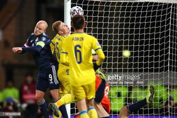 Steven Naismith of Scotland scores a goal to make it 2-1 during the UEFA Euro 2020 qualifier between Scotland and Kazakhstan at Hampden Park on...