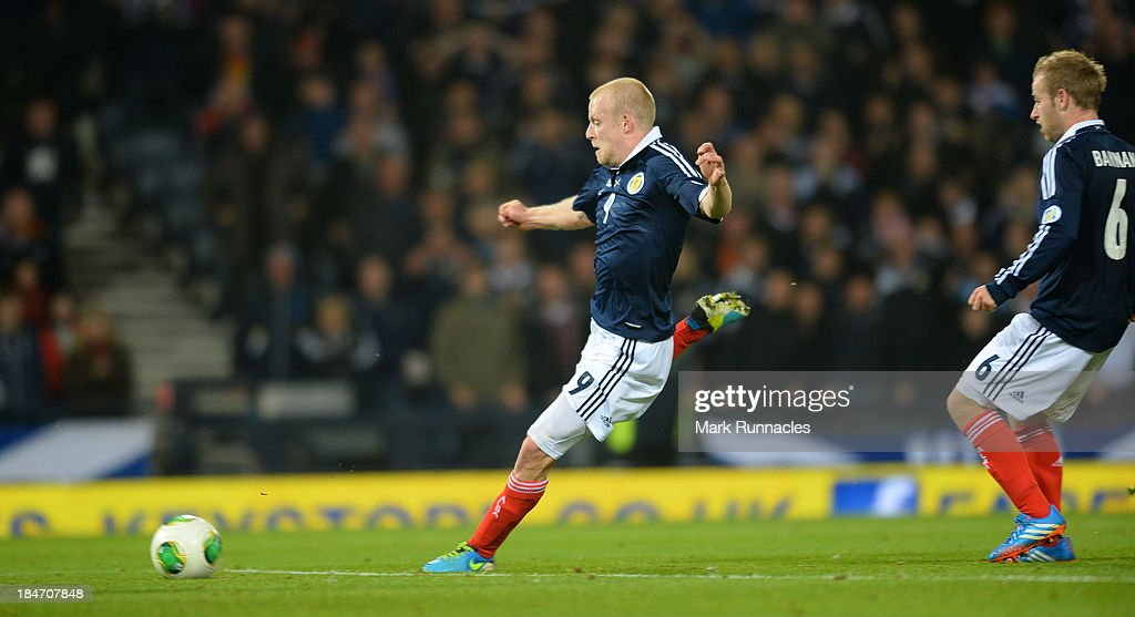 Steven Naismith of Scotland scores his goal during the FIFA 2014 World Cup Qualifying Group A match between Scotland and Croatia at Hampden Park on October 15, 2013.