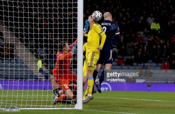 Steven Naismith of Scotland scores his team's second goal during the UEFA Euro 2020 qualifier between Scotland and Kazakhstan at Hampden Park on...