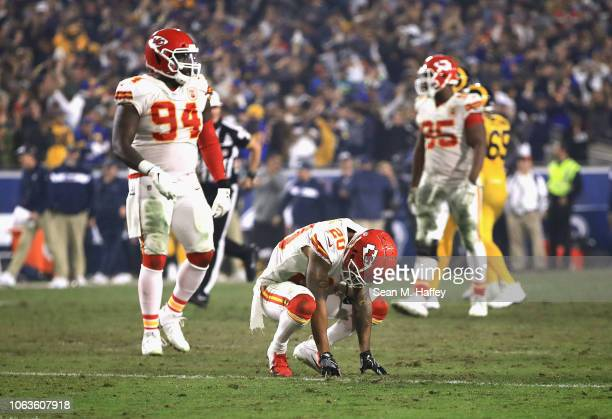 Steven Nelson of the Kansas City Chiefs reacts after Gerald Everett of the Los Angeles Rams scored a 40yard touchdown during the fourth quarter of...