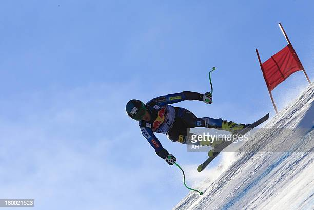 Steven Nyman from the US competes during the men's World Cup Downhill training on January 24 2013 in Kitzbuehel AFP PHOTO / ALEXANDER KLEIN