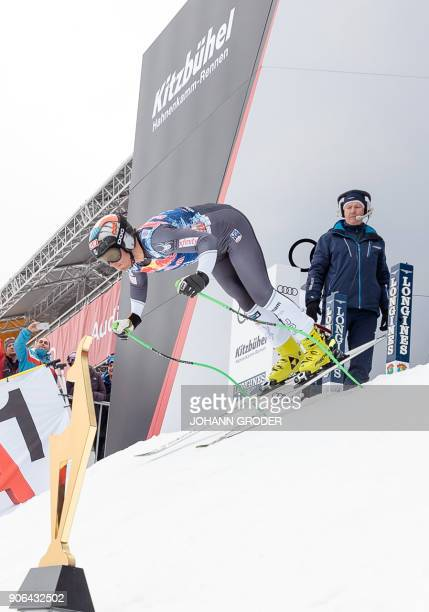 Steven Nyman of the USA takes the start during a training session of the FIS Alpine World Cup Men's downhill event in Kitzbuehel Austria on January...