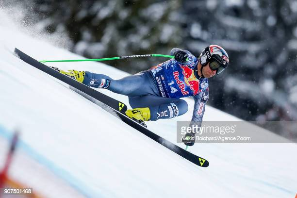 Steven Nyman of USA competes during the Audi FIS Alpine Ski World Cup Men's Downhill on January 20 2018 in Kitzbuehel Austria