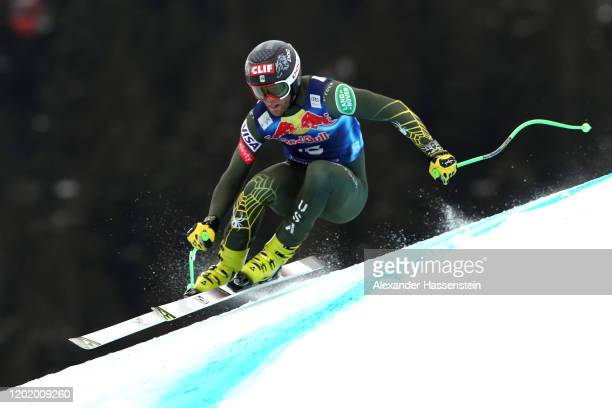 Steven Nyman of USA competes during the Hahnenkamm Rennen Audi FIS Alpine Ski World Sup Men's Downhill at Streif on January 25 2020 in Kitzbuehel...