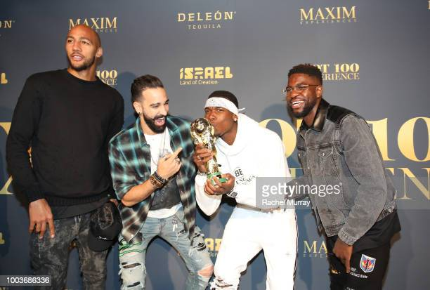 Steven Nzonzi Adil Rami Paul Pogba and Samuel Umtiti attend The 2018 Maxim Hot 100 Party at Hollywood Palladium on July 21 2018 in Los Angeles...