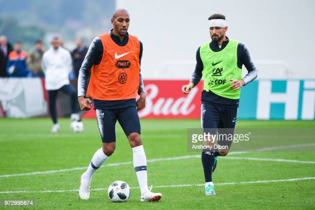 Steven Nzonzi and Olivier Giroud of France during a France training session ahead of the FIFA World Cup 2018 in Russia on June 12 2018 in Istra Russia