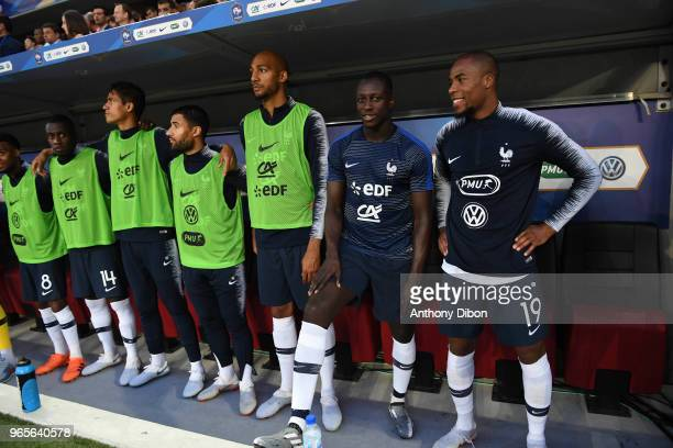 Steven Nzonzi Benjamin Mendy and Djibril Sidibe of France during the International Friendly match between France and Italy at Allianz Riviera Stadium...