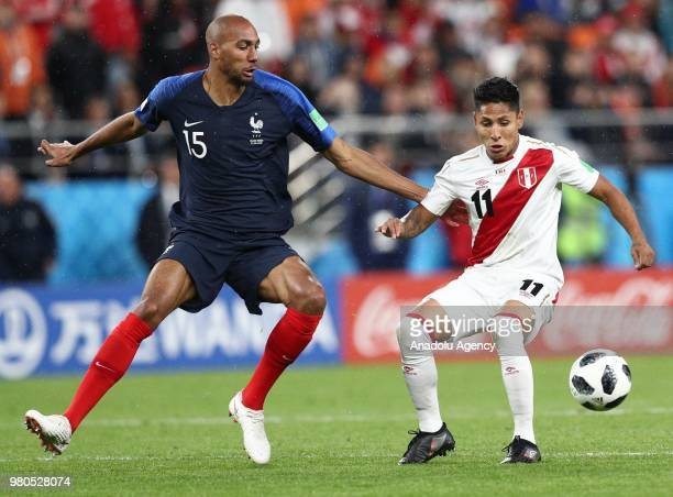 Steven N'Zonzi of France in action against Raul Ruidiaz of Peru during the 2018 FIFA World Cup Russia Group C match between France and Peru at the...