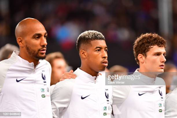 Steven Nzonzi of France Presnel Kimpembe of France and Benjamin Pavard of France during the international friendly match between France and Iceland...