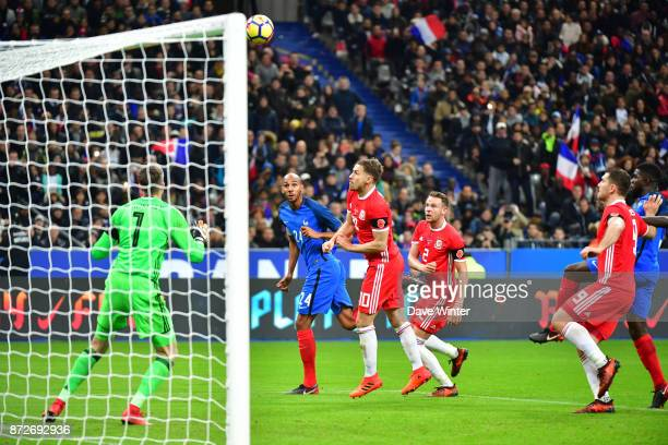 Steven Nzonzi of France sees his header go just over the bar during the international friendly match between France and Wales at Stade de France on...