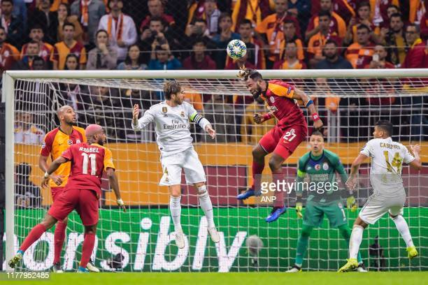 Steven Nzonzi of Galatasaray AS Ryan Babel of Galatasaray AS Sergio Ramos Garcia of Real Madrid CF Christian Luyindama of Galatasaray AS goalkeeper...
