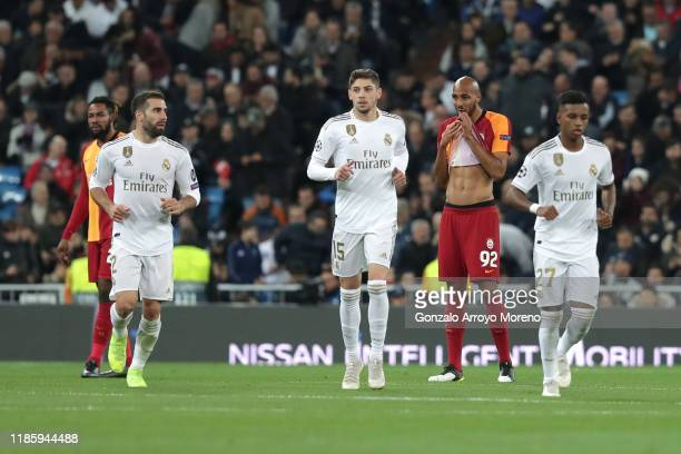 Steven N'Zonzi of Galatasaray reacts after Real Madrid's first goal during the UEFA Champions League group A match between Real Madrid and...