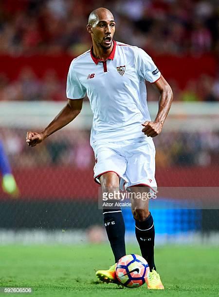 Steven N'Zonzi of Sevilla FC in action during the match between Sevilla FC vs RCD Espanyol as part of La Liga at Estadio Ramon Sanchez Pizjuan on...