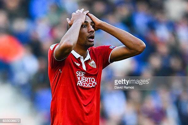Steven N'Zonzi of Sevilla FC reacts during the La Liga match between RCD Espanyol and Sevilla FC at CornellaEl Prat stadium on January 29 2017 in...