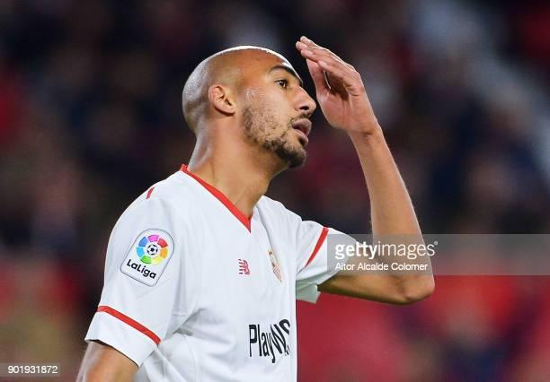 Steven N'Zonzi of Sevilla FC reacts during the La Liga match between Sevilla FC and Real Betis Balompie at Estadio Ramon Sanchez Pizjuan on January 6...