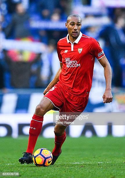 Steven N'Zonzi of Sevilla FC runs with the ball during the La Liga match between RCD Espanyol and Sevilla FC at CornellaEl Prat stadium on January 29...