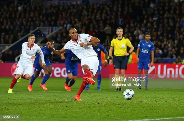 Steven N'Zonzi of Sevilla takes a penalty which is saved during the UEFA Champions League Round of 16 second leg match between Leicester City and...