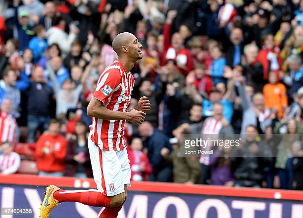 Steven Nzonzi of Stoke City celebrates after scoring during the Barclays Premier League match between Stoke City and Liverpool at the Britannia...