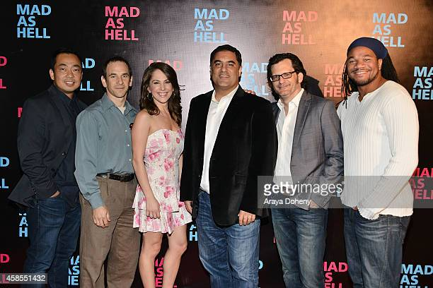 Steven Oh Dave Koller Ana Kasparian Cenk Uygur Ben Mankiewicz and Jayar Jackson attend the The Young Turks Documentary 'Mad as Hell' Los Angeles...