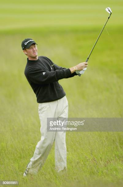 Steven O'Hara of Scotland plays his third shot on the 18th hole during the final round of the Diageo Championship at Gleneagles on June 13 Gleneagles...