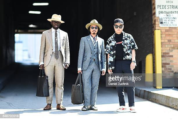 Steven Onoja, Denny Balmaceda and Paul Jin are seen outside the Carlos Campos show during New York Fashion Week: Men's S/S 2017 - Day 2 on July 12,...