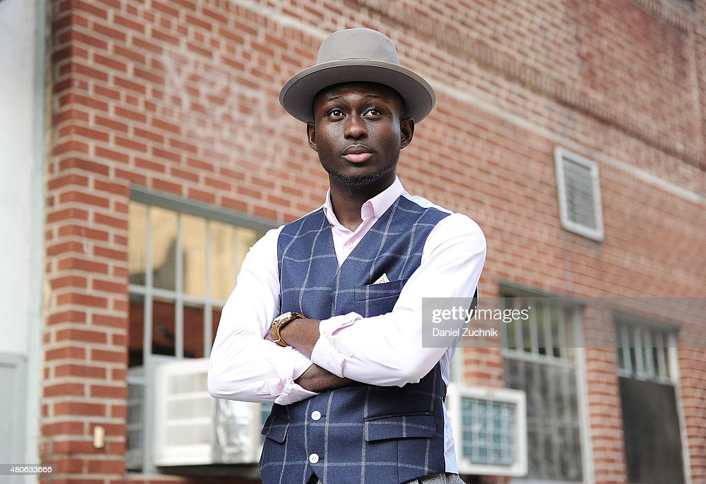 Steven Onoja is seen outside the Carlos Campos show wearing an outfit by Cremieux during New York Fashion Week MenÕs S/S 2016 at Industria Studios on July 13, 2015 in New York City.