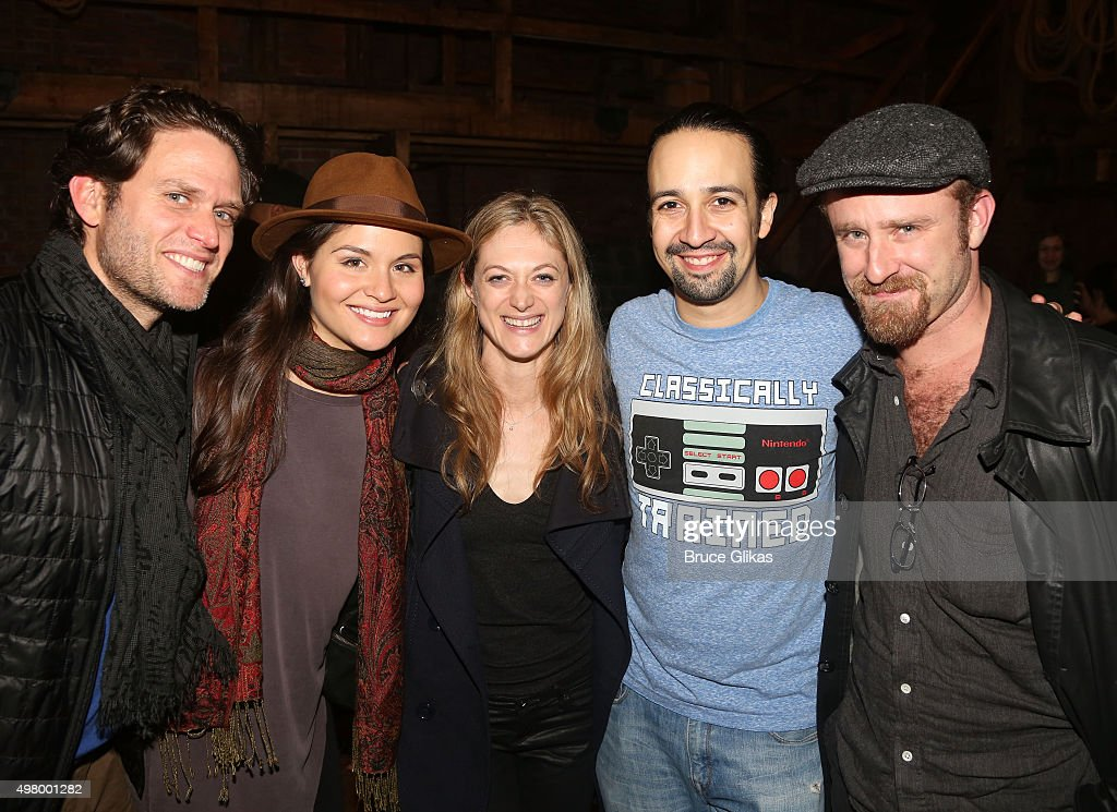 Steven Pasquale, Phillipa Soo, Marin Ireland, Lin-Manuel Miranda and Ben Foster pose backstage at the hit musical 'Hamilton' on Broadway at The Richard Rogers Theater on November 19, 2015 in New York City.