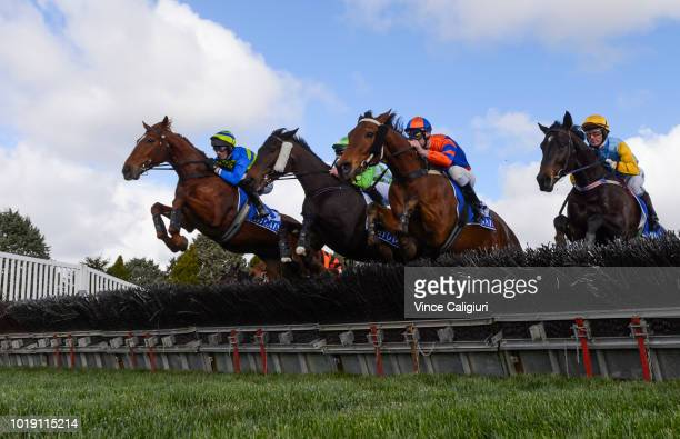 Steven Pateman riding Big Blue during win in Race 3 during Grand National Steeplechase Day at Ballarat on August 19 2018 in Ballarat Australia