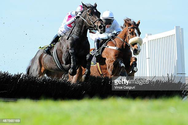Steven Pateman riding Regina Coeli and Tom Ryan riding Monkey Briscoe jumping the second last hurdle in Race 1 the Hammonds Hurdle during the...