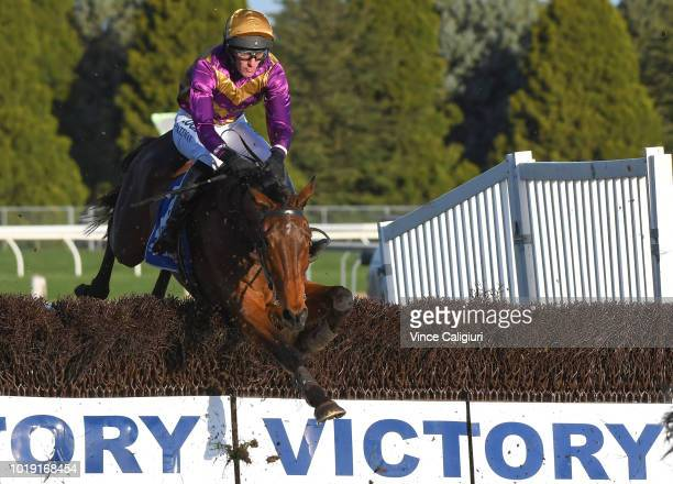 Steven Pateman riding Sea King during win in Race 6 Grand National Steeplechase during Grand National Steeplechase Day at Ballarat on August 19 2018...