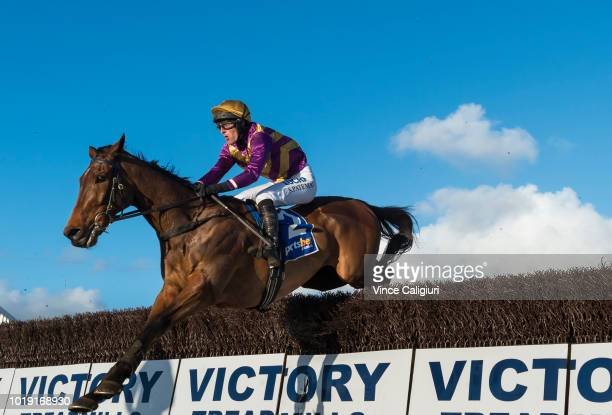 Steven Pateman riding Sea King jumps the second last jump during win in Race 6 Grand National Steeplechase during Grand National Steeplechase Day at...