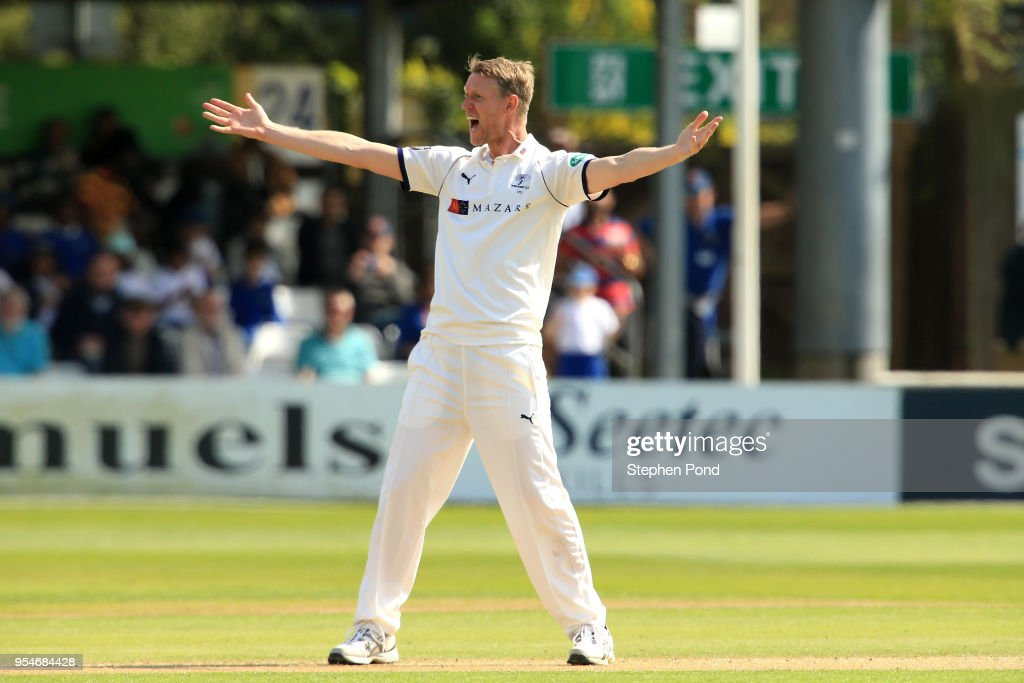 Steven Patterson of Yorkshire appeals during the Specsavers County Championship Division One match between Essex and Yorkshire at the Cloudfm County Ground on May 4, 2018 in Chelmsford, England.