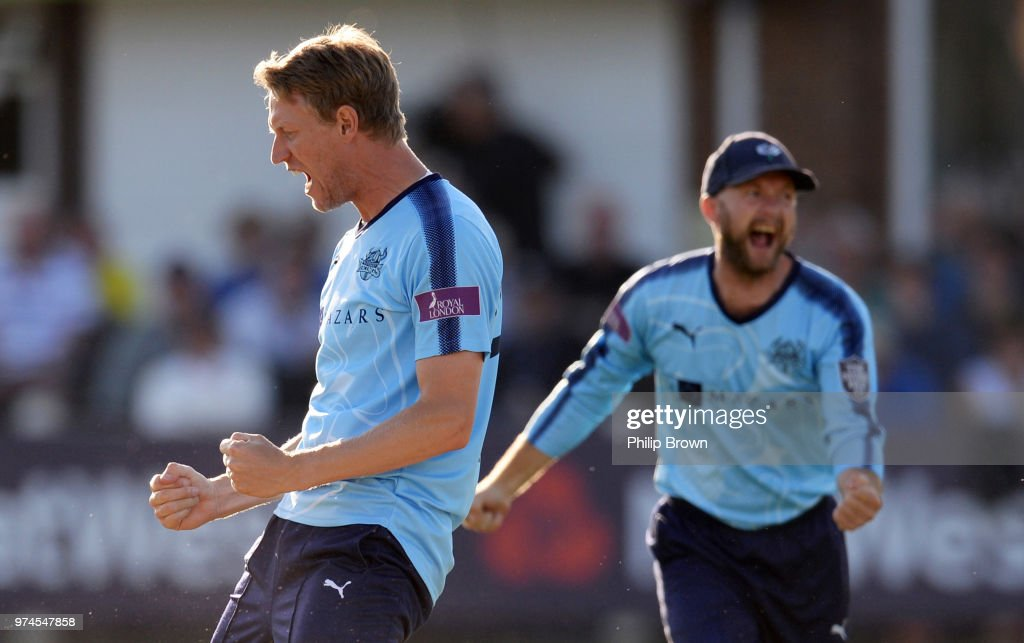 Steven Patterson of Yorkshire Vikings celebrates the dismissal of Dan Lawrence of Essex Eagles on the ground during the Royal London One-Day Cup match between Essex Eagles and Yorkshire Vikings at the Cloudfm County Ground on June 14, 2018 in Chelmsford, England.