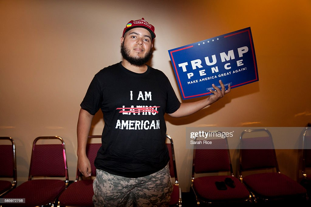 Steven Peguero, of Boston, waits for Republican Presidential candidate Donald Trump to speak at the Merrill Auditorium on August 4, 2016 in Portland, Maine.