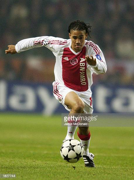 Steven Pienaar of Ajax charges forward during the UEFA Champions League Second Phase Group B match between Ajax and Arsenal held on February 26 2003...