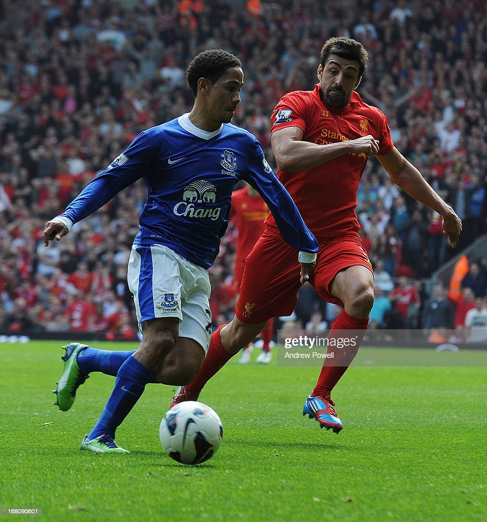 Steven Pienaar of Everton and Jose Enrique of Liverpool compete during the Barclays Premier League match between Liverpool and Everton at Anfield on May 5, 2013 in Liverpool, England.
