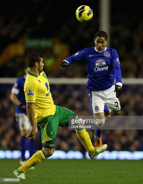 Steven Pienaar of Everton attempts to head the ball past Bradley Johnson of Norwich City during the Barclays Premier League match between Everton and...