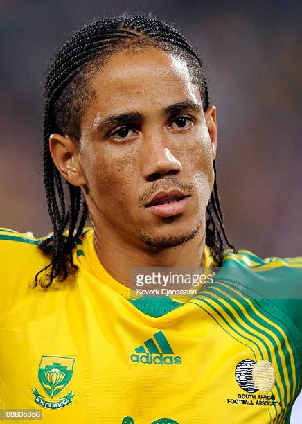 Steven Pienaar of South Africa looks on during the FIFA Confederations Cup match between Spain and South Africa at the Free State stadium on June 20...