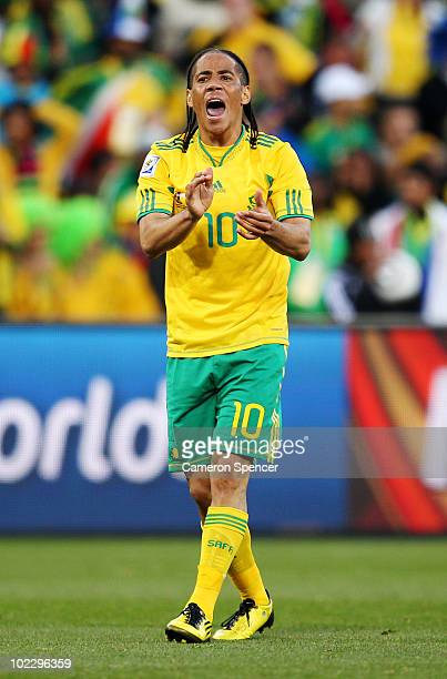 Steven Pienaar of South Africa urges his team mates on during the 2010 FIFA World Cup South Africa Group A match between France and South Africa at...