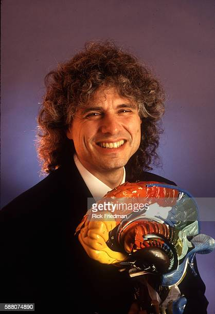 Steven Pinker with a model of the brain in his office