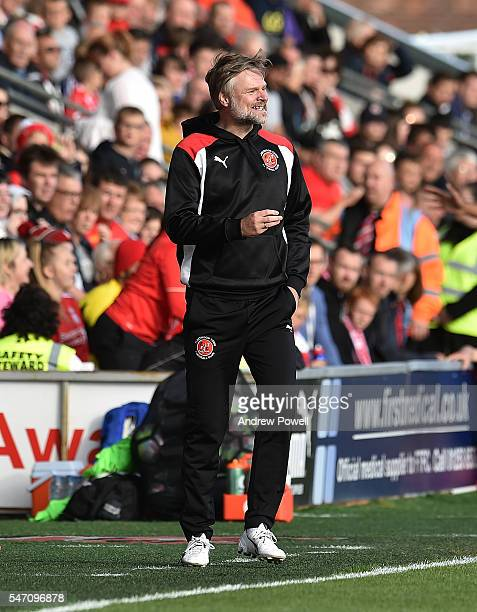 Steven Pressley manger of Fleetwood Town at the start of the PreSeason Friendly match bewteen Fleetwood Town and Liverpool at Highbury Stadium on...