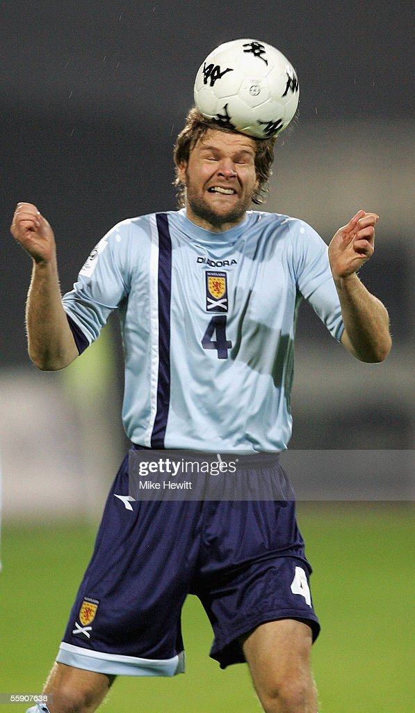Steven Pressley of Scotland gets in a header during the FIFA World Cup group 5 qualifying match between Slovenia and Scotland on October 12, 2005 at the Petrol Arena Stadium in Celje, Slovenia.