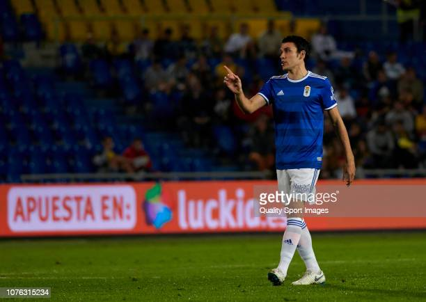 Steven Prieto of Real Oviedo reacts during the La Liga 123 match between UD Las Palmas and Oviedo at Estadio Gran Canaria on December 02 2018 in Las...